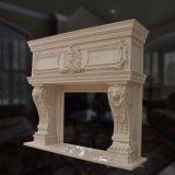 Overmantel Lareira lareira de mármore com boa qualidade Hand-Carved lareira de pedra calcária,