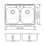 Premier bassin de cuisine d'acier inoxydable de cuvette de double de support (8354B)