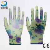 13gauge de Polyester van de bloem met de Pu Met een laag bedekte Handschoenen van het Werk van de Veiligheid (PU006)