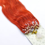Red Color Micro Ring Loop Extensão humana do cabelo Remy