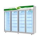 4 puertas de vidrio vertical nevera para almacenar