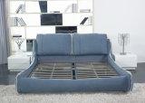 Eindeutiges doppeltes Gewebe-weiches Bett-fester Holzrahmen mit Headboard