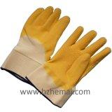 La metà del lattice della fodera del cotone ha tuffato i guanti di funzionamento di sicurezza