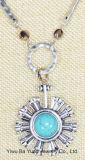 Turkooise Bloem van de Steen van de manier bengelt de Zilveren en Natuurlijke de Halsband van de Tegenhanger