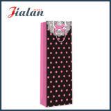ピンクの点デザインカスタムロゴの安く印刷されたペーパーワイン袋