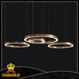 Moderno Anillo de acero inoxidable personalizada Lámpara colgante LED (KAF6050)