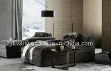 セットされる現代白革3のシートのソファーのホームソファー(D-63-D)