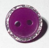 16L 2buracos Botão de resina com pó de Prata