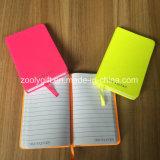 Серебристый цвет логотипа Штампование провод фиолетового цвета кожи дня рекламные ноутбук6 карманный ноутбук