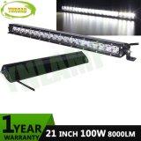 Barre simple tous terrains d'éclairage LED de rangée du CREE 8000lm 100W 21inch