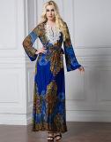 Lange Hülsen-Kleid moslemische Abaya islamische Abaya KleidungSilk Kaftan-Böhmen-Art-blaues Spitze-Kleid