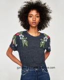 소매 t-셔츠가 대나무 합동 면 고품질 숙녀에 의하여 누전한다