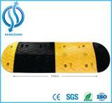 Corcunda de borracha amarela e preta da velocidade