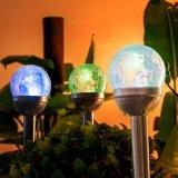 Bille de verre fissuré à double voie solaire LED feux en plein air pour le paysage Yard Patio