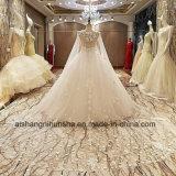Vestido de casamento luxuoso a princesa Laço Flor com arrasto