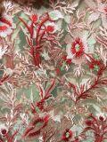 Schwarzes rosiges Spitze-Gewebe gesticktes bilaterales ausgebogt, Wimper-Vorhang-Blatt-Spitze-Gewebe