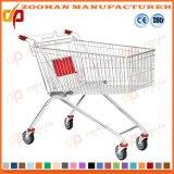 Тележка вагонетки покупкы супермаркета металла провода складывая на колесах (Zht187)