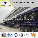 Trois 20 pieds de l'essieu /Fuwa essieux de 40 pieds semi-remorque fabricants lit plat conteneur extensible remorque/semi-remorque de camion à plat avec les murs latéraux