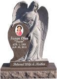 Pietra tombale di marmo bianca del Headstone del cubo del modello commemorativo di angelo del monumento