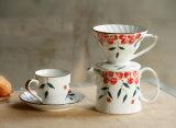 コーヒー鍋、手のフラッシュ、陶磁器フィルター、コップ、コーヒーカップおよびコーヒーSetceramic手のダッシュのコーヒースーツ