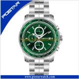最新の流行の防水魅力のクロノグラフのステンレス鋼の水晶腕時計