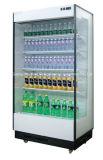 Caixa de exibição de geladeira aberta para bebidas e bebidas