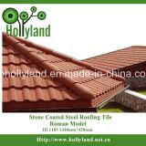 A folha ondulada da telhadura do metal com pedra revestiu (o tipo de madeira)