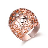 To Body Jewelry High quality gold Plating Flower Pattern bend cocktail ring
