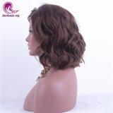 De onda corta el pelo natural virgen hermosa peluca de encaje completo
