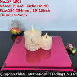 4mm Large Square Bright Red Glass Candle Holder