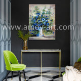 Pittura blu di arte della tela di canapa del fiore di alta qualità dalla lama di gamma di colori con effetto dell'olio pesante