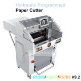 Máquina de papel programada hidráulica dobrada 1000 do cortador aritmético da estaca do Worktable traseiro das folhas 670mm automática