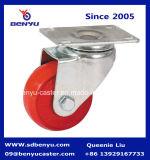 Красные колеса рицинуса PU с отверстием для болтов для мебели