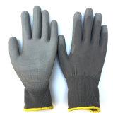 Серый PU покрыл перчатку En388 работы пригонки Nylon перчатки супер