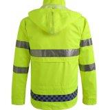 安全均一工場反射縞のWorkwearのフード付きの冬のジャケット