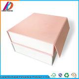 Rectángulo de regalo de empaquetado de papel de lujo rosado plegable de encargo de Eco con magnético