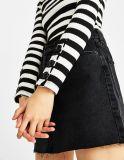 Frauen-runde Stutzen-Farben-Streifen-Strickjacke mit Stulpe-Rissen