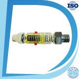 Tubería horizontal o vertical con el contador de la corriente del interruptor de la alarma