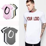 La coutume de gros en vrac de haute qualité Tshirt col rond à fond rond de l'impression de 100% coton blanc incurvé palangre de l'ourlet T Shirt pour hommes