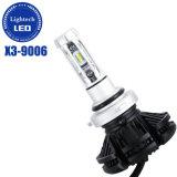 Sin ventilador de alta potencia 50W HB4 9006 Faro de LED de 3 colores