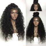 Нет никаких спутанных проводов Kinky сброса вьющихся волос человека 100% кружево передней Wig с ребенком волос