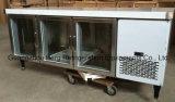 Refrigerador de cristal del vector de la preparación de las puertas de la venta 3 calientes con Ce