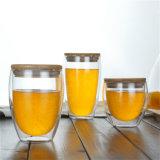 オレンジジュースのタケふたの飲料の飲み物のコップが付いているガラス二重壁のコーヒーカップをカスタマイズしなさい