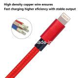 Relámpago trenzado de nylon de 8 Pin a la cuerda de carga del cable del USB con el conector de aluminio