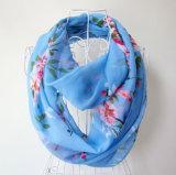 Senhora Fashion Flower Impresso Chiffon Seda Infinito lenço de mola (YKY1095)