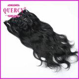 加工されていないバージンのRemyのブラジルの人間の毛髪の毛の倍によって引かれる厚い端クリップ