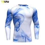 Custom Dri aplicar os homens de Manga Longa Camisas de compressão por sublimação de tinta
