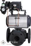 탄소 강철 Wcb 압축 공기를 넣은 액추에이터 3 방법 플랜지 공 벨브
