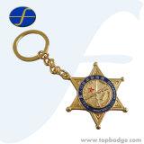 Anello portachiavi di vendita caldo di Keychain del ricordo del randello del metallo di figura della stella