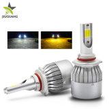 Refroidissement par ventilateur à deux couleurs H4 H11 LED Lampes de projecteur 8000LM lampe LED H7 24V